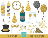Glitter NEW YEAR clipart, glitter clipart, happy new year graphic, New Years eve