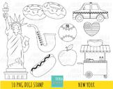 NEW YORK digi stamp, big apple stamp, travel, liberty, taxi, hot dog