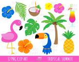 TROPICAL SUMMER clipart, flamingo, tropical flowers, touca