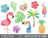 50% sale WATERCOLOR TROPICAL SUMMER clipart, flamingo clip