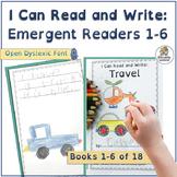 Interactive Emergent Readers for Kindergarten  Books 1-6   Open Dyslexic Font