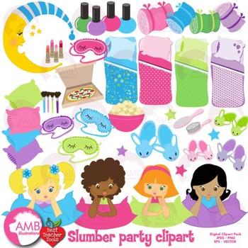 slumber party clipart girls sleepover clip art best teacher tools rh teacherspayteachers com free clipart sleepover party clipart sleepover party