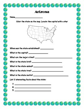 50 state project and worksheets