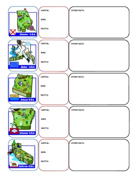 50 states foldable flash cards or worksheets - capitals, birds, flags, mottos