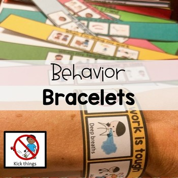 50 visual BEHAVIOR bracelets. EDITABLE. Autism, speech, social, emotional.