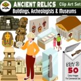 50 x Archaeology - Artifacts, Buildings & Museums Color Clip Art images - Set 3