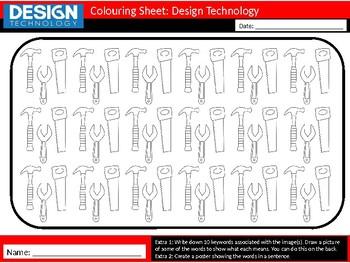 50 x Design Technology Colouring Sheets Keyword Starter Settler Textiles Food