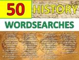 50 x History Wordsearch Starter Activities Cover Homework Keyword Settler