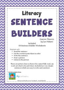 50 x Literacy Sentence Builder worksheets. Victorian Modern Cursive Font.