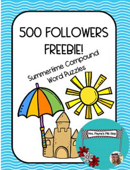 500 FOLLOWERS FREEBIE! Summertime Compound Words!