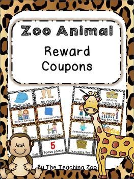 500 Follower Celebration! Day 1 Freebie - Zoo Animal Student Reward Coupons