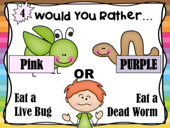 """500 Follower Freebie!  """"Would You Rather...?"""" Purple and Pink Flower"""