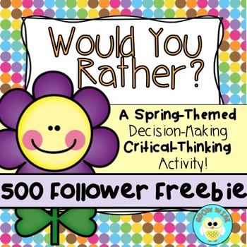 "500 Follower Freebie!  ""Would You Rather...?"" Purple and P"