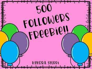 500 Followers Freebie! {Thank YOU!}