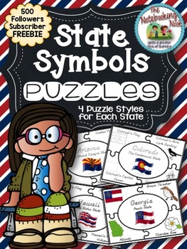 500 Followers Subscriber Freebie - State Symbols Puzzles