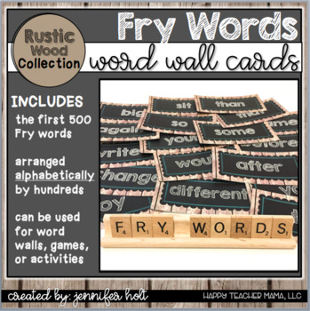 500 Fry Words-Word Wall Cards (Rustic Wood)