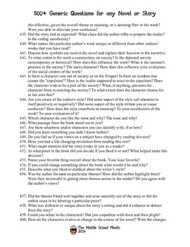 500+ Generic Questions for any Novel or Story