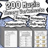 200 Music Theory Worksheets - Tests Quizzes Homework Reviews Sub Work & More!