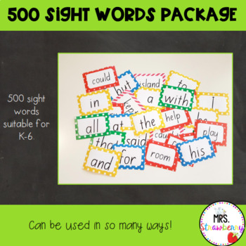 500 Sight Words Package {High Frequency Words} Grades 1-6