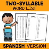 Spanish Disyllabic Word Lists
