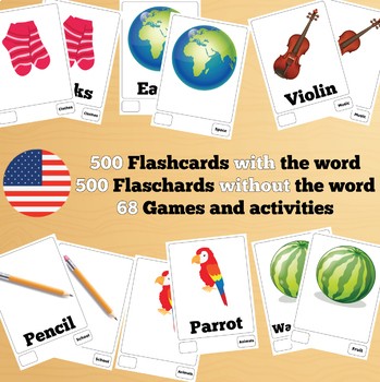 500 X 2 English Flashcards Set 1 (1000 flash cards with words and no words)