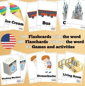 500 X 2 English Flashcards Set 2 (1000 flash cards with words and no words)