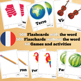 500 X 2 French Flashcards Set 1 (1000 flash cards with words and no words)