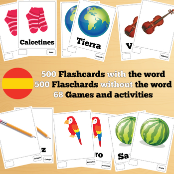 500 X 2 ٍSpanish Flashcards Set 1 (1000 flash cards with words and no words)