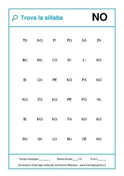 500 schede di ricerca di sillaba divise per struttura, affollamento e maiuscole
