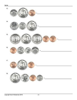 50000 Questions American U.S.A. Coins Adding Up Worksheets
