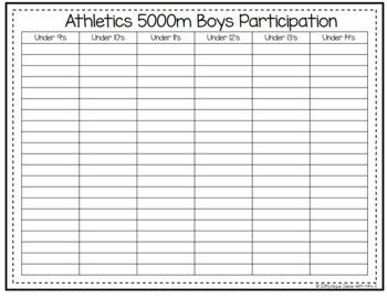 5000m Track Athletics Awards Editable