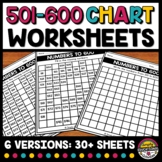 501 TO 600 CHART WORKSHEETS BLANK & FILL IN THE MISSING NU