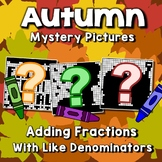 Adding Fractions Color By Number For Fall, Math 4th Grade And Up Worksheets