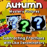 Subtracting Fractions Mystery Pictures, Fall Math Art Worksheets