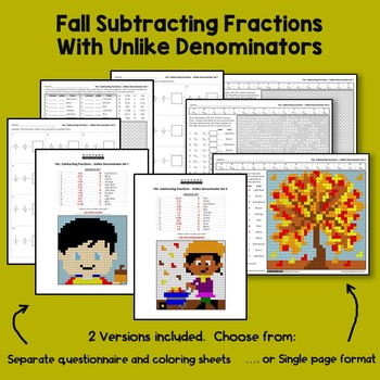 Subtraction With Renaming Fractions, Math Coloring Fall Activities 5th Grade 6th