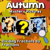 Division Of Fractions Coloring Sheets, Mystery Pictures Fall Coloring Math Pages