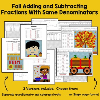 Fall Adding and Subtracting Fractions With Like Denominators
