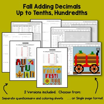 Fall Decimal Worksheet, Color By Number Adding Decimals Up To Tenths, Hundredths