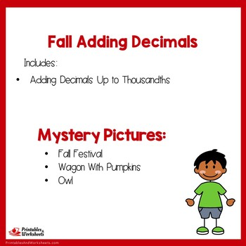 Fall Adding Decimals Up to Thousandths