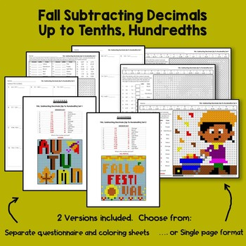 Fall-Themed Decimal Activities, Subtracting Decimals Coloring Sheet