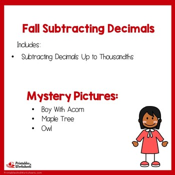 Fall Subtracting Decimals Up to Thousandths
