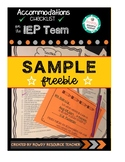 504/IEP Accommodations Checklist SAMPLE FREEBIE