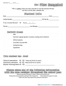 504 Plan Snapshot Coversheet FREEBIE