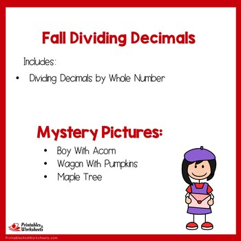 Fall Dividing Decimals By Whole Numbers Coloring Worksheets