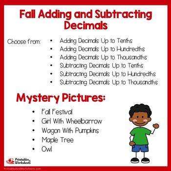 Fall Adding and Subtracting Decimals