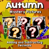 Fall Decimal Addition And Subtraction Color By Number Code Mystery Picture Sheet