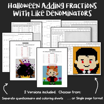 Halloween Adding Fractions With Like Denominators