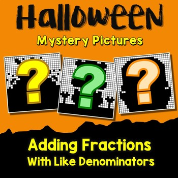 Middle School Math Halloween Adding Fraction Coloring Worksheet Like  Denominator