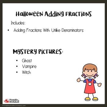 Halloween Adding Fractions With Unlike Denominators, Fun Worksheet With Coloring