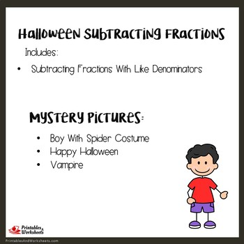 Like Denominator Subtracting Fraction Halloween Activity 4th Grade Color-Number